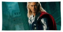 Thor Oil Pastel Sketch Hand Towel