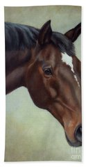 Thoroughbred Horse, Brown Bay Head Portrait Bath Towel