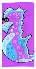 Hand Towel featuring the painting Thoughts And Colors Series Seahorse by Veronica Minozzi
