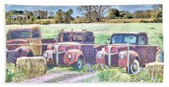 Three 1940 Ford Pickups For Sale Bath Towel by Janette Boyd