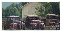 Hand Towel featuring the photograph Three 1940 Ford Pickups by Janette Boyd