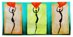 Hand Towel featuring the painting Three Abstract Figures With Hearts by Bob Baker