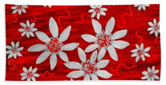 Three And Twenty Flowers On Red Hand Towel