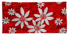 Three And Twenty Flowers On Red Hand Towel