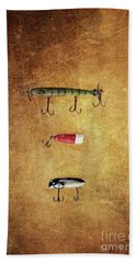 Three Antique Fishing Lure Hand Towel by Stephanie Frey