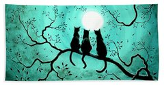 Three Black Cats Under A Full Moon Bath Towel by Laura Iverson