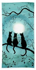 Three Black Cats Under A Full Moon Silhouette Bath Towel by Laura Iverson