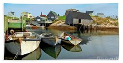 Three Boats At Peggys Cove Bath Towel