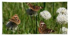 Three Buckeye Butterflies On Wildflowers Bath Towel