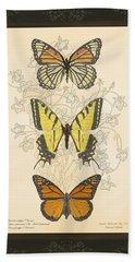 Three Butterflies Bath Towel