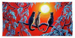 Three Cats In A Bright Red Sunset Bath Towel