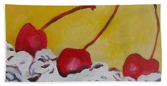 Bath Towel featuring the painting Three Cherries by Tilly Strauss