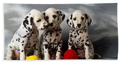 Three Dalmatian Puppies  Bath Towel