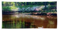 Three Ducks At The Azalea Pond Bath Towel by Tamyra Ayles