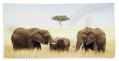 Three Elephant In Tall Grass In Africa Bath Towel