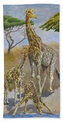 Three Giraffes Hand Towel