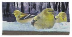Three Goldfinches In Winter Bath Towel by Janette Boyd