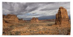 Three Gossips And Courthouse Towers Panorama - Arches National Park - Moab Utah Hand Towel