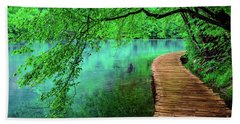 Tree Hanging Over Turquoise Lakes, Plitvice Lakes National Park, Croatia Bath Towel
