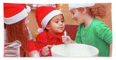 Three Kids Making Christmas Cookies Hand Towel