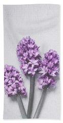 Three Light Purple Hyacinths Bath Towel