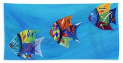 Hand Towel featuring the painting Three Little Fishy's by Jamie Frier