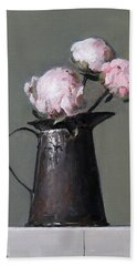 Three Peony Buds In Old Tin Can Hand Towel