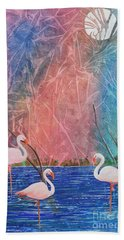 Hand Towel featuring the painting Three Pink Flamingos by Jackie Mueller-Jones
