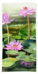 Three Pink Water Lilies With Pads Bath Towel
