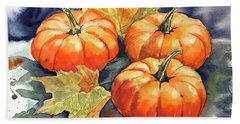 Three Pumpkins Bath Towel