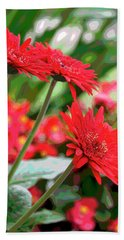 Three Red Gerberas Posterized Hand Towel