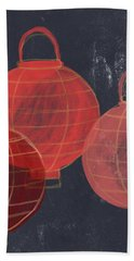 Three Red Lanterns- Art By Linda Woods Bath Towel