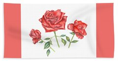 Hand Towel featuring the mixed media Three Red Roses by Elizabeth Lock