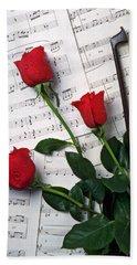 Three Red Roses  Bath Towel