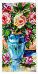 Hand Towel featuring the painting Three Roses In A Glass Vase by Roberto Gagliardi