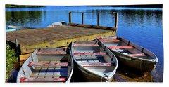 Three Rowboats Bath Towel by David Patterson