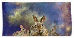 Bath Towel featuring the photograph Three Scared Lagomorphs by Janette Boyd