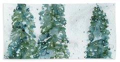 Three Snowy Spruce Trees Bath Towel