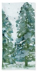 Bath Towel featuring the painting Three Snowy Spruce Trees by Dawn Derman