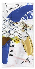 Bath Towel featuring the painting Three Color Palette Blue 3 by Michal Mitak Mahgerefteh