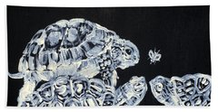 Bath Towel featuring the painting Three  Terrapins And One Fly by Fabrizio Cassetta