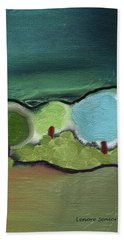 Bath Towel featuring the mixed media Three Trees - Triple Landscape by Lenore Senior