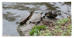 Three Turtles Bath Towel by Suhas Tavkar