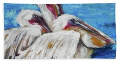 Three White Pelicans Bath Towel