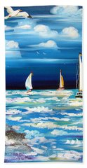 Three White Sails And A Seagull Hand Towel
