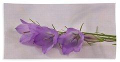 Three Wild Campanella Blossoms - Macro Bath Towel by Sandra Foster