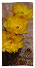 Three Yellow Cactus Flowers Bath Towel