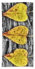 Three Yellow Leaves Bath Towel