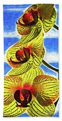 Hand Towel featuring the digital art Three Yellow Orchid Blooms by Kirt Tisdale