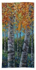 Through The Aspen Trees Diptych 1 Hand Towel